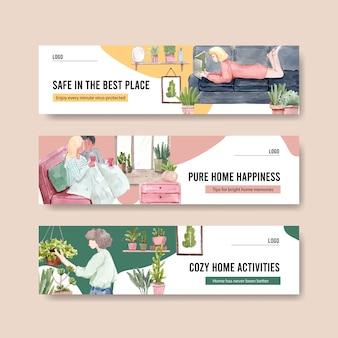 Zostań w domu sztandaru pojęcie z ludźmi charakterów robi aktywność, uprawia ogródek i relaksuje akwareli ilustracyjnego projekt