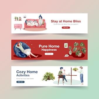 Zostań w domu sztandaru pojęcie z ludźmi charakterów robi aktywności i relaksującemu ilustracyjnemu akwarela projektowi
