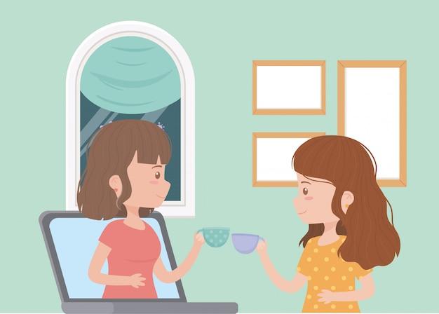 Zostań w domu, towarzysko, kobiety podłączone do laptopa piją kawę