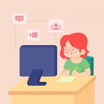 Zostań w domu, ucząc się komunikowania ilustracja koncepcja