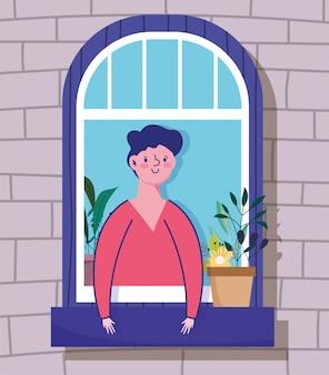 Zostań w domu w kwarantannie, młody człowiek wygląda przez okno, budując zewnętrzną ilustrację