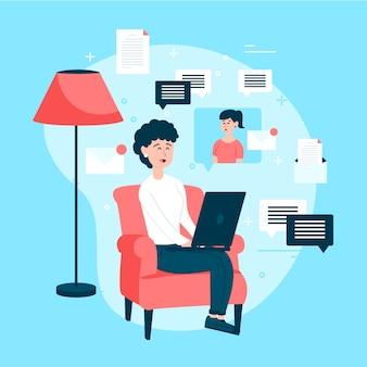 Zostań w domu z kobietą pracującą na odległość
