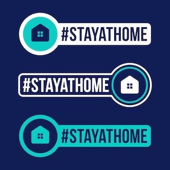 Zostań w domu zapobieganie ilustracji naklejki covid-19. odznaka ochronna koronawirusa z ikoną płaskiego koła.