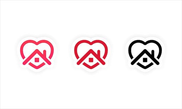 """Zostań w domu zestaw ikon. symbol naklejki domu. ikona wektor serca i domu. kampania """"zostań w domu"""" mająca na celu zapobieganie epidemii pandemii koronawirusa."""