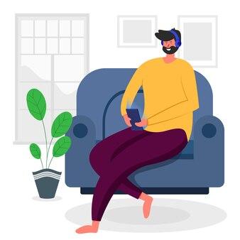 Zostań w domu zostań bezpieczny młody człowiek płaski charakter ilustracja