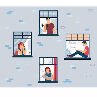 Zostań w domu. życie w izolacji w domu. fasada domu z oknami i ludźmi.