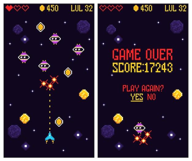 Zręcznościowa gra komputerowa zestaw pionowych banerów