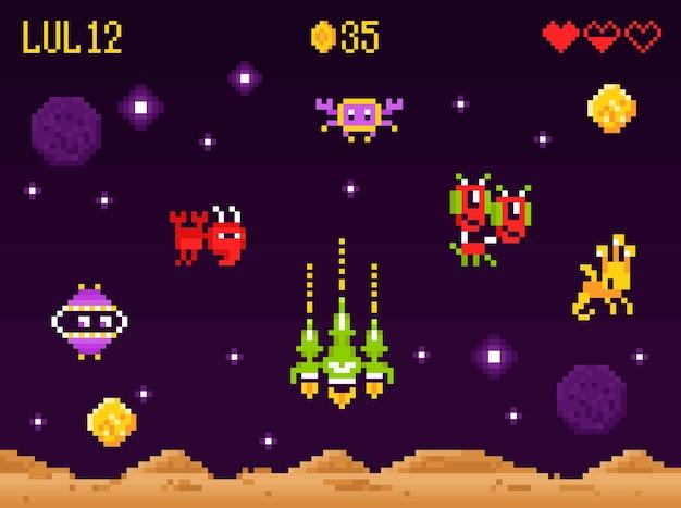 Zręcznościowa kompozycja z interfejsem gry komputerowej w stylu pixel art z kosmitami z retro kosmicznej strzelanki i statkiem kosmicznym bojowym