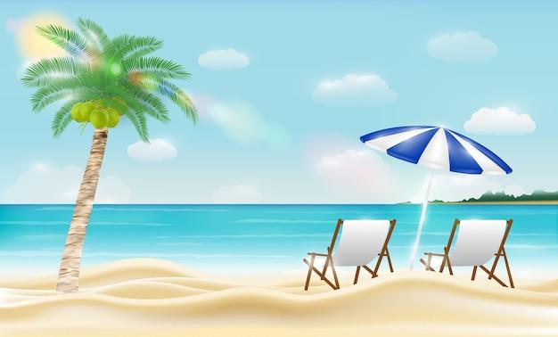 Zrelaksować Się Krzesło Na Plaży Z Piasku Morskiego Z Drzewa Kokosowego Premium Wektorów