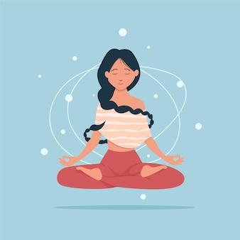 Zrelaksowana kobieta medytacji