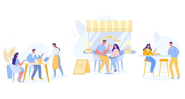 Zrelaksowani ludzie siedzi przy stołami przy plenerową kawiarnią
