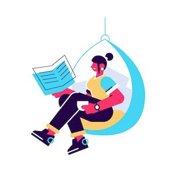 Zrelaksowany domowa dziewczyna siedzi w wygodnym wiszącym fotelu, czytając książkę ilustracji.