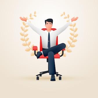 Zrelaksowany medytujący zadowolony biznesmen w fotelu biurowym przedstawiający sukces
