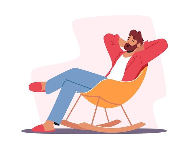 Zrelaksowany męski charakter w domowych ubraniach i kapciach, siedzący w wygodnym fotelu, ziewający, wypoczynek mężczyzny w domu po pracy lub w weekend