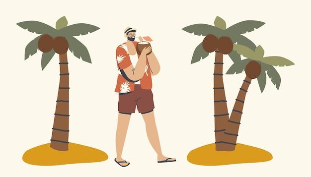 Zrelaksowany męski charakter w letnich ubraniach, ciesząc się piciem soku kokosowego, spacerując po tropikalnej plaży z palmami wokół