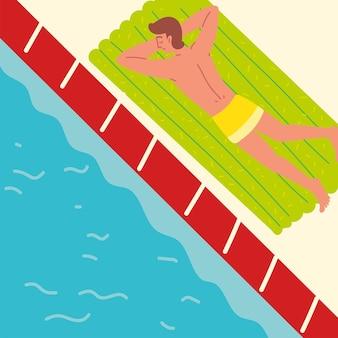 Zrelaksowany mężczyzna przy basenie?