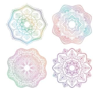 Zrelaksuj się dzięki kolekcji okrągłych ornamentów kwiatowych mandali