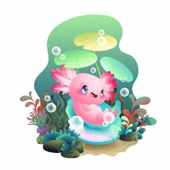 Zrelaksuj się ilustracji wektorowych axolotl, ładna różowa salamandra