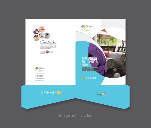 Zrelaksuj szablon folderu prezentacji urody i spa w kolorze turkusowym