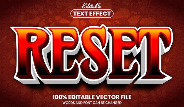 Zresetuj tekst, edytowalny efekt tekstu w stylu czcionki