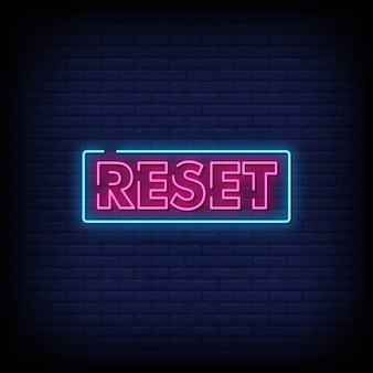 Zresetuj tekst w stylu neon signs
