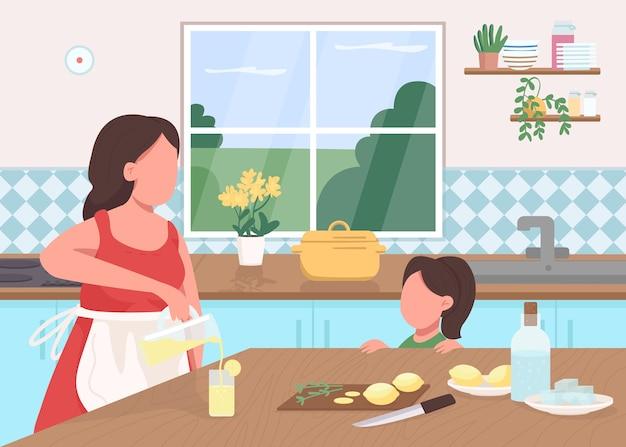 Zrób lemoniadę w domu płaską kolorową ilustrację. matka i córka przygotowują letni napój. dziecko pomaga pokroić cytrynę. rodzina postaci z kreskówek 2d z wnętrzem kuchni na tle
