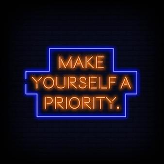Zrób sobie priorytet wektor znak tekstu neon