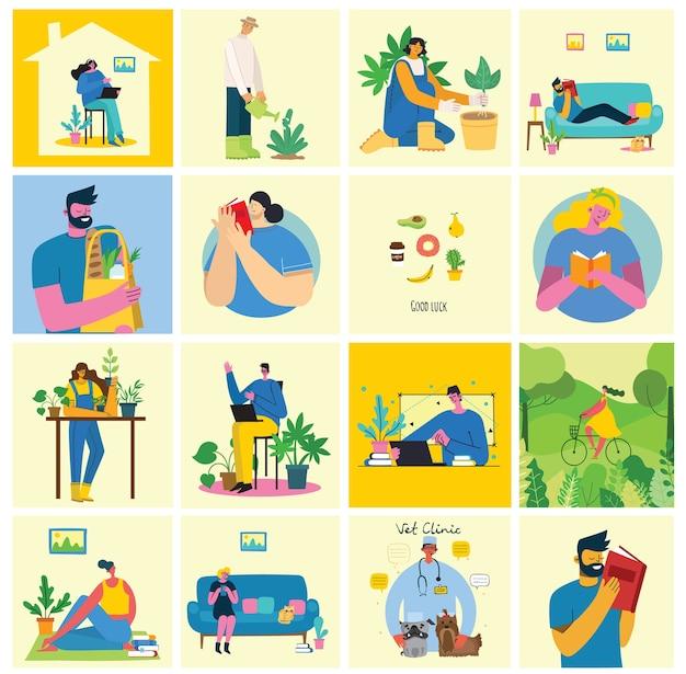 Zrób sobie przerwę ilustracji kolażu. ludzie odpoczywają i piją kawę, używają tabletu na krześle i sofie. mieszkanie w nowoczesnym stylu.