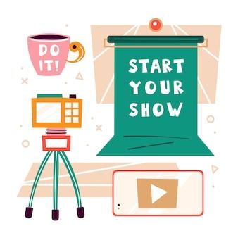 Zrób to. elementy bloggera. zielony ekran, kluczowanie, aparat fotograficzny, filiżanka kawy. robienie wideo w studio. produkcja treści medialnych. podcast, strumień, kanał. płaskie ilustracja na białym tle
