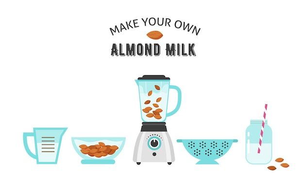 Zrób własne mleko migdałowe, ilustracja