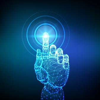 Zrobotyzowana niska wielokąta ręka dotykająca interfejsu cyfrowego.