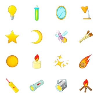 Źródła światła zestaw ikon