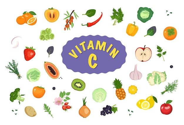 Źródło witaminy c zestaw ikon warzyw owoce i zioła zestaw wegetariańskich produktów spożywczych zdrowy...