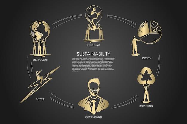 Zrównoważony rozwój, gospodarka, społeczeństwo, recykling, emisja co2, infografika dotycząca środowiska