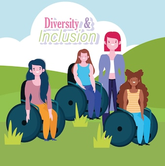 Zróżnicowana grupa kobiet niepełnosprawnych siedzi na wózku inwalidzkim, ilustracja włączenia