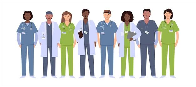 Zróżnicowana grupa lekarzy. pielęgniarka, lekarz, opiekun, chirurg, lekarz.