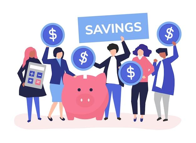 Zróżnicowana grupa ludzi i savings pojęcia ilustracja