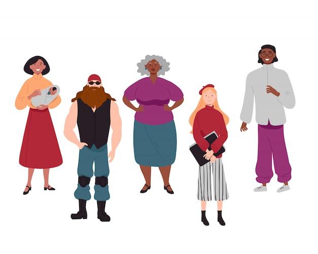 Zróżnicowana grupa młodych ludzi razem portret