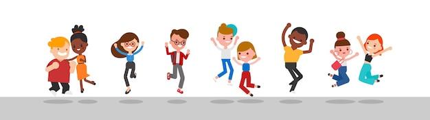 Zróżnicowana grupa szczęśliwych ludzi skaczących ilustracji.