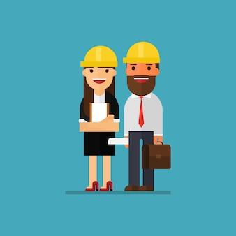 Zróżnicowana kobieta i mężczyzna pracujący jako architekci