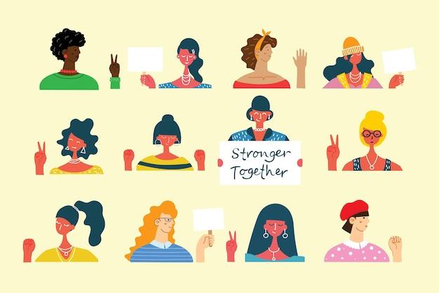 Zróżnicowana międzynarodowa i międzyrasowa grupa stojących kobiet. dla dziewczęcych pomysłów na siłę, kobiecość i feminizm