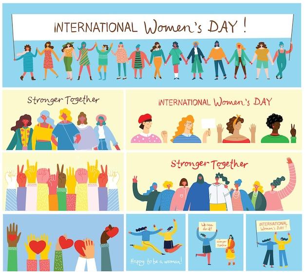 Zróżnicowana międzynarodowa i międzyrasowa grupa stojących kobiet