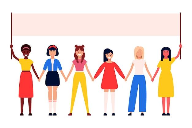 Zróżnicowana międzynarodowa i międzyrasowa grupa stojących kobiet.