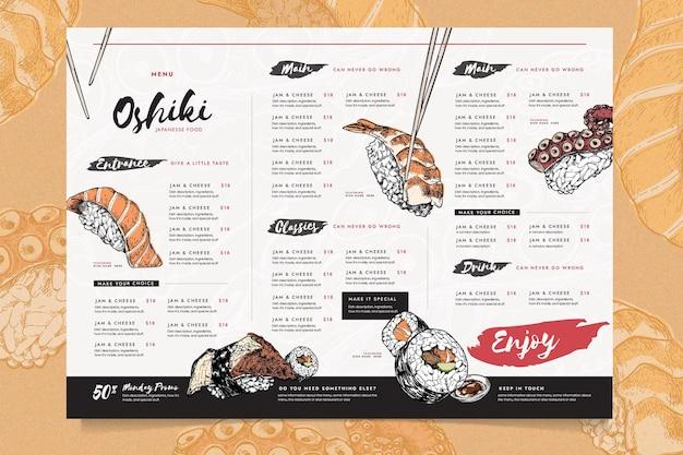 Zróżnicowany szablon menu restauracji