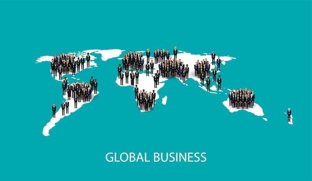 Zróżnicowany tłum ludzi i mapa świata