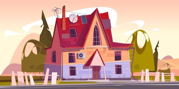Zrujnowany podmiejski domek mieszkalny z chwiejnym płotem i anteną satelitarną na dachu