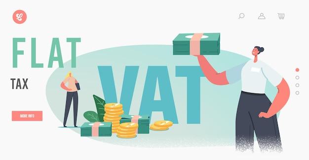 Zryczałtowany podatek, szablon strony docelowej zwrotu podatku vat. postać kobieca otrzyma zwrot pieniędzy za zakupy za granicą. usługa wolna od podatku, ludzie oszczędzają budżet, zdobywają pieniądze na zakup towarów za granicą. ilustracja kreskówka wektor