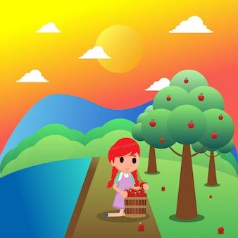 Zrywanie jabłczanej owocowej ilustraci