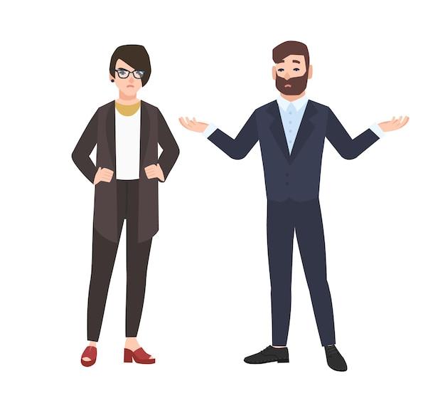 Zrzędliwy szef żeński i pracownik płci męskiej na białym tle. wściekły szef lub dyrektor krytykujący lub ganiący pracownika biurowego. konflikt w pracy. ilustracja wektorowa kolorowe w stylu cartoon płaskie.