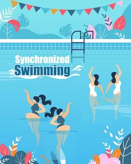 Zsynchronizowane kursy pływania pionowy płaski baner